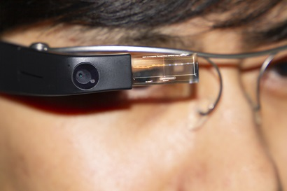 Wearable tech on a man's glasses