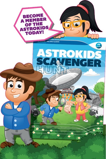 Cartoon of two children holding a very large version of the 'Astrokids Scavenger hunt' booklet
