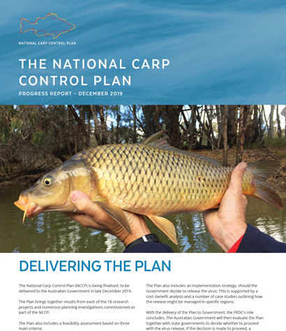 A picture of the front page of a progress report on The National Carp Control Plan, front page image including a picture of hands holding a European carp.