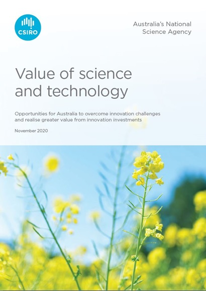 Cover of the value of science and technology report. Cover features a picture of a canola field on the front.
