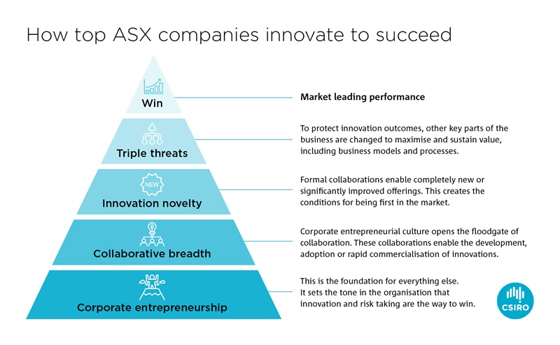 Pyramid with the four innovation factors leading to market leading performance displayed.