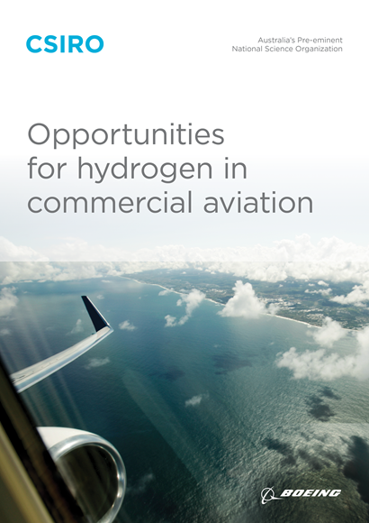 Cover for the Opportunities for hydrogen in commercial aviation report.