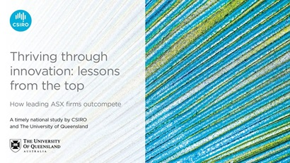 Cover of 'Thriving through innovation: Lessons from the top' survey. Includes CSIRO and UQ logo with textured blue and green background image.