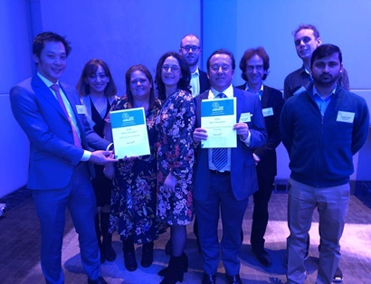 Accurait team holding winning award at 2019 Australian Information industry Association iAwards ceremony