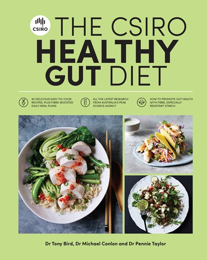 Front cover of the CSIRO Healthy Gut Diet book with book title and an image of some recipes