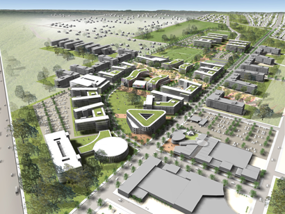 aerial view of artist impression of new development
