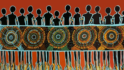 An Indigenous dot work painting of people and circles