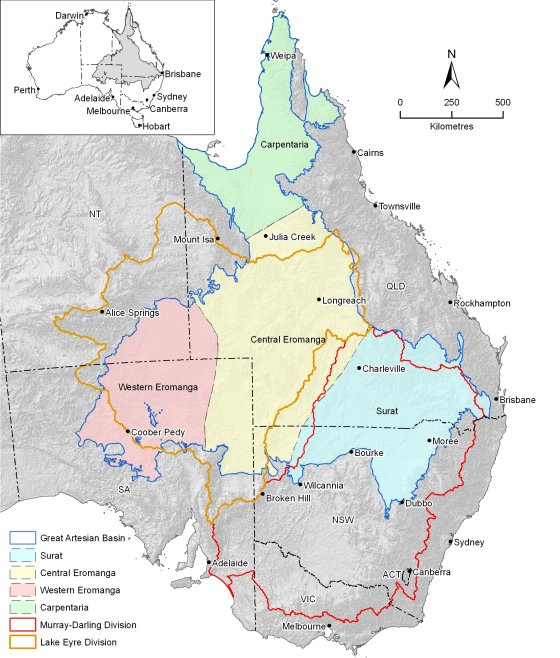 Map of Great Artesian Basin water resource assessment area