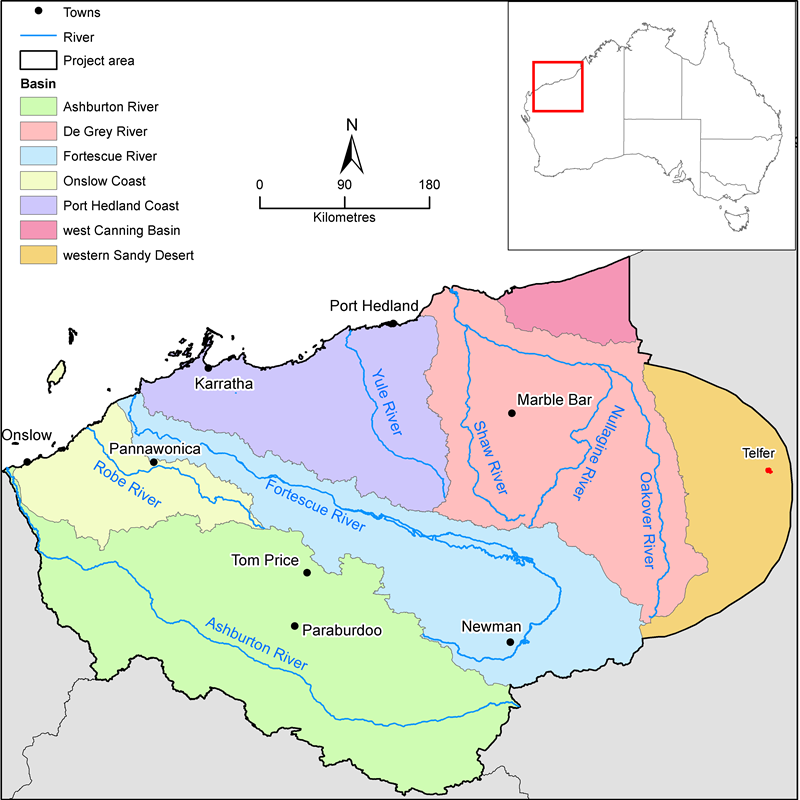 A map of the Pilbara water resource assessment area.