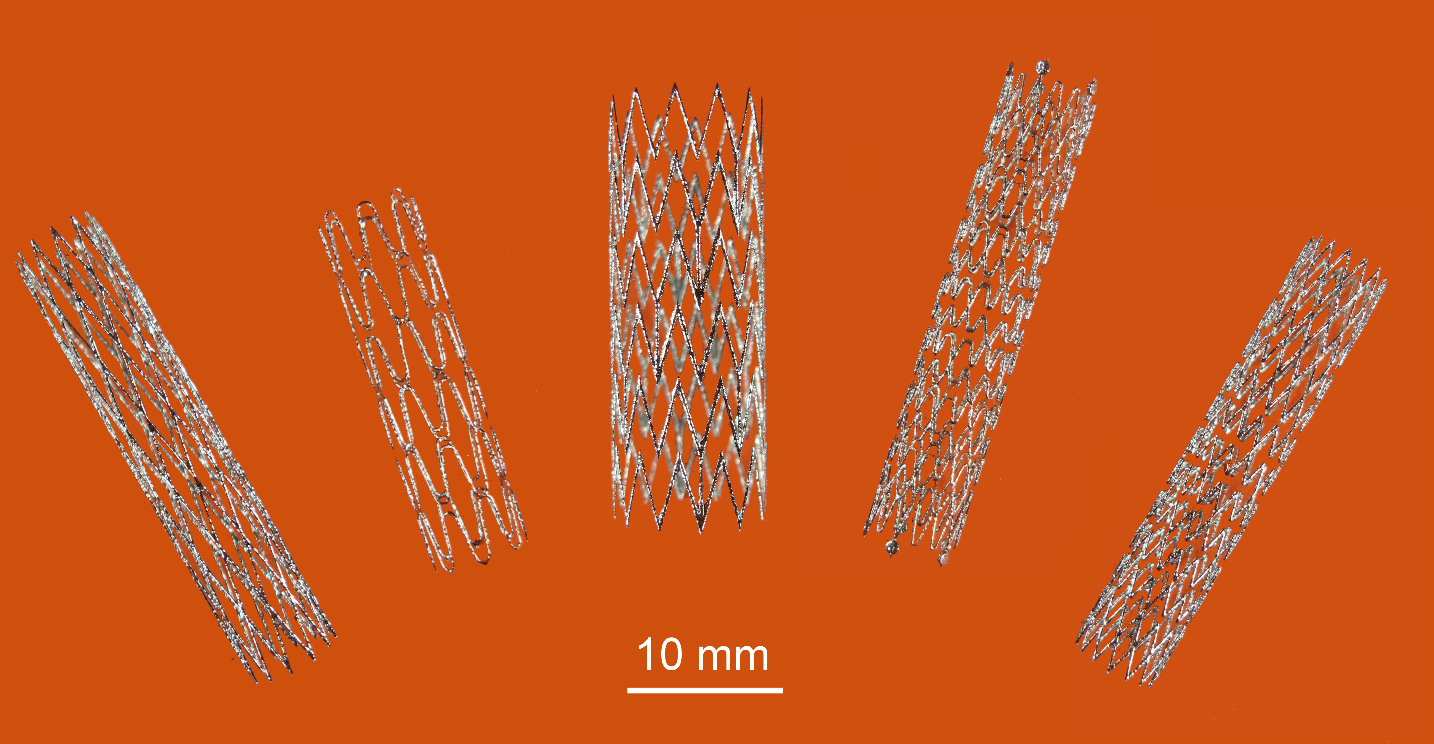 Five 3D-printed stents.