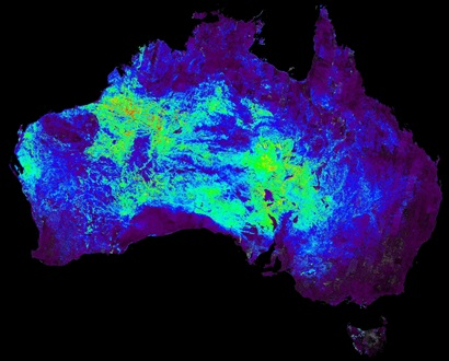 ASTER map of Australia showing distribution of silica deposits represented by diffferent colours for different concentrations.