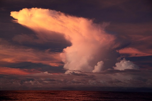 Cloud formations over the Pacific Ocean