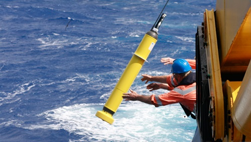 The deployment of an Argo float into the ocean.
