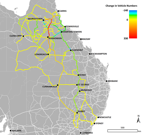 Map of east coast of Australia  showing how TRANSIT has modelled a 105 km section of the Hann Highway north of Hughenden.