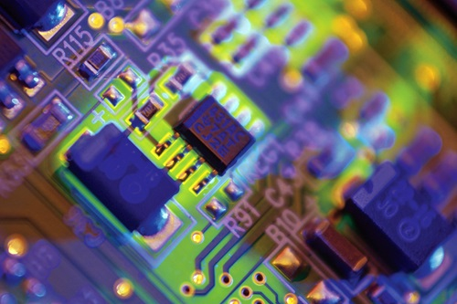 Close up view of detail of a circuit board.