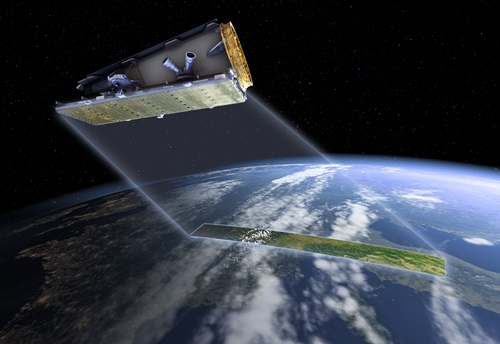 The NovaSAR satellite in orbit above Earth