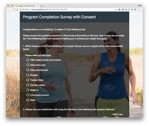 Screen shot of the online survey for the end of the 12 weeks Total Wellbeing Diet program.