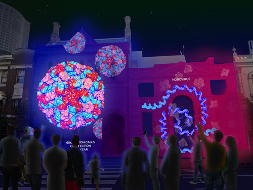 Coloured renderings of diseases and viruses projected onto the side of a building during the Vivid light installation.
