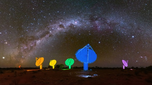 Murchison Radio-astronomy Observatory in remote Western Australia. It includes six of the Australian Square Kilometre Array Pathfinder's (ASKAP) 36 antennas, custom lit by portable white LED lights to produce a rainbow effect, along with a  the Milky Way arching overhead.