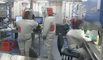 Scientists working in the lab at the Australian Centre for Disease Preparedness.