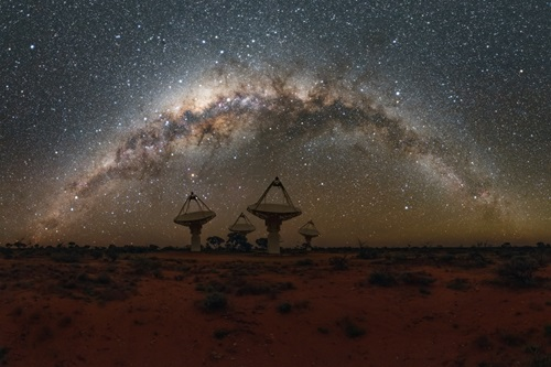 Antennas of CSIROs ASKAP Telescope under the Milky Way in Western Australia.