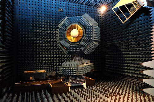 Ultra-wideband receiver, shown in a testing chamber.