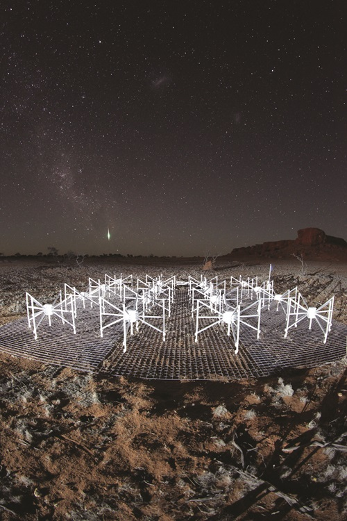 Night sky showing the radio telescopes in the Murchison Widefield Array in Western Australia.