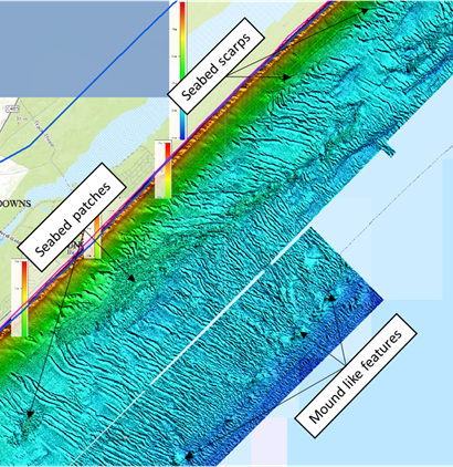 A LiDAR image of the north-eastern section showing the dune-like features seabed patches, scarps and small mound features.