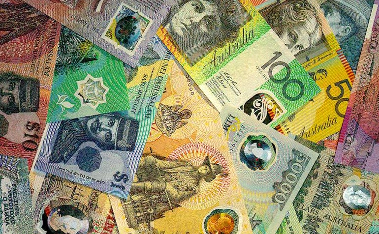 Different types of polymer banknotes, including Australian and international notes