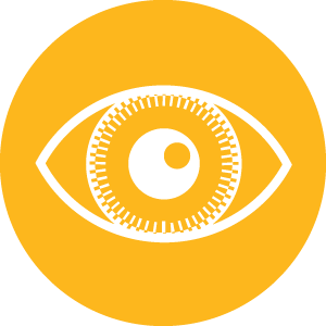 Stylised eye in a circle.