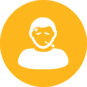 Stylised person with a thermometer in their mouth, inside a circle.