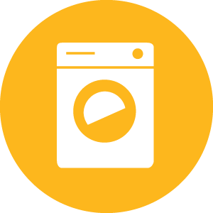 Stylised front-loading washing machine in a circle.
