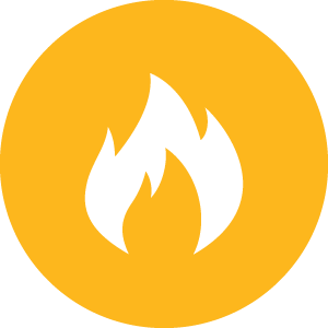 Stylised fire in a circle.