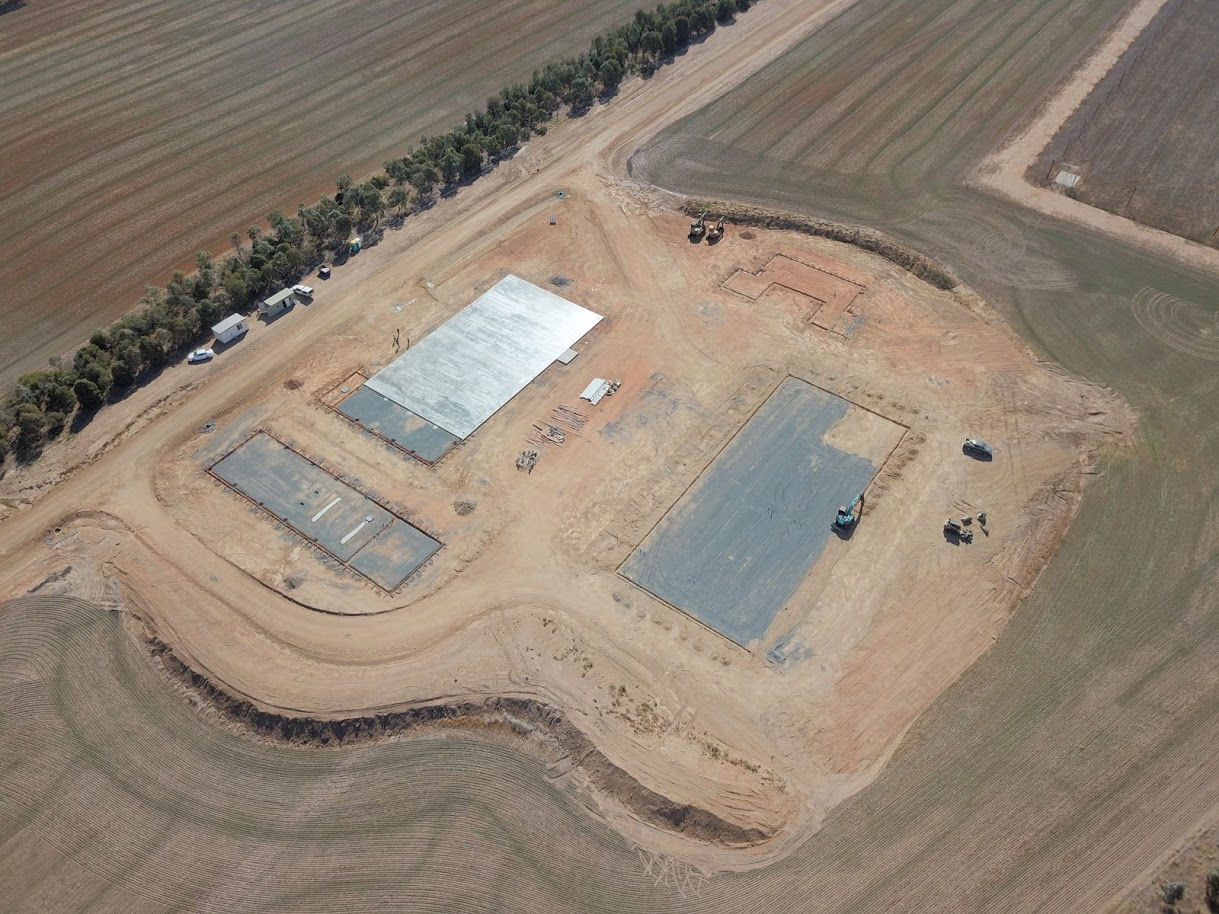 Aerial view showing concrete slabs where buildings will be constructed