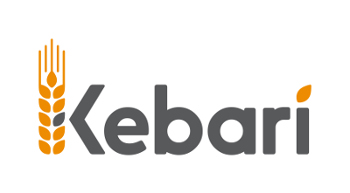 A logo: stylised text spelling 'Kebari', with a grain head image forming part of the K