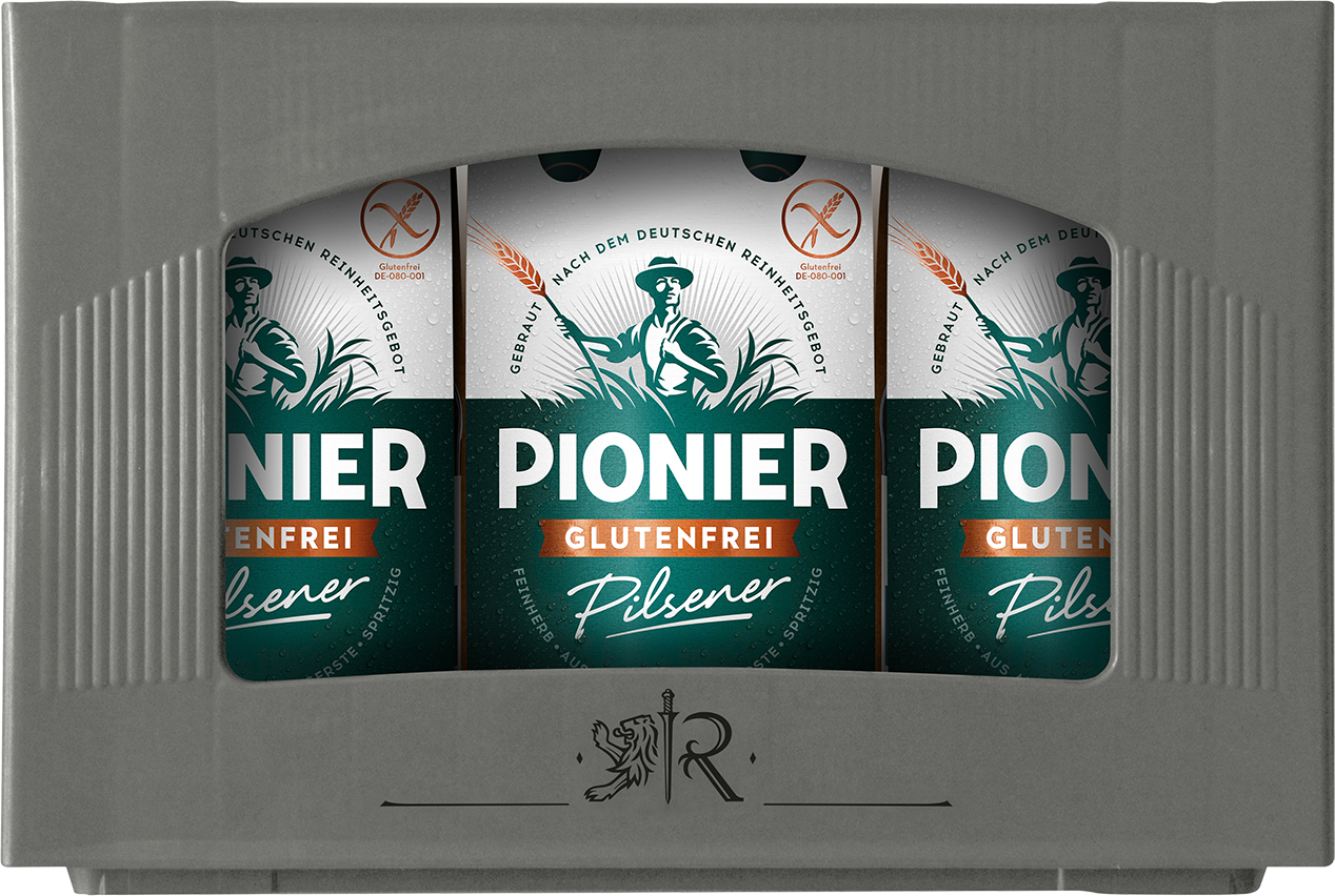 A box containing four-packs of beer, the label features the word 'Pionier', the name of the beer