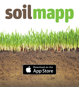 The words SoilMapp sitting above a layer of gree grass followed by a layer of brown soil.