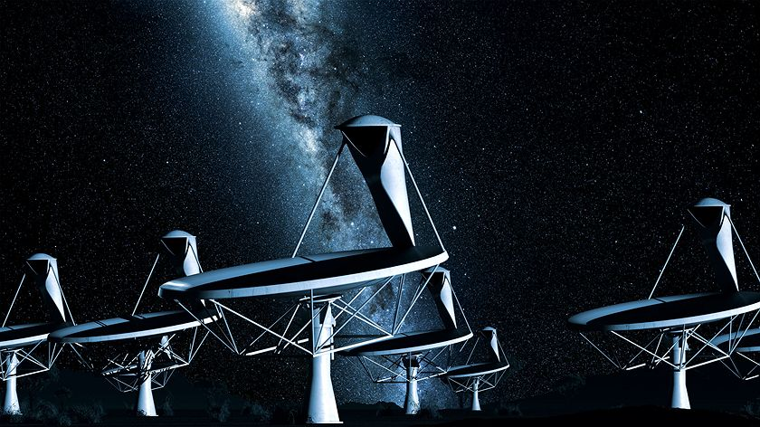 Digital illustration of SKA radio telescopes and the night sky.