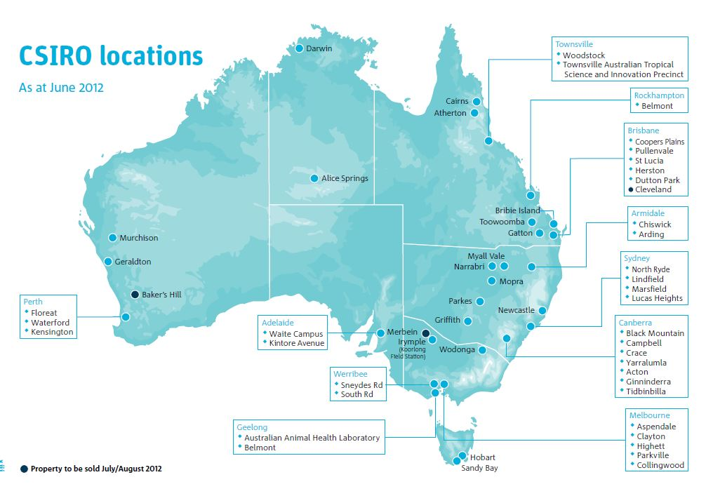 Map of Australia showing CSIRO locations in 2012.