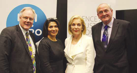 Left to right: Professor David Ames, Dr Maria Carrillo, Ms Ita Buttrose and Dr Richard Head posing in front of banners of the CSIRO and SIEF logos.