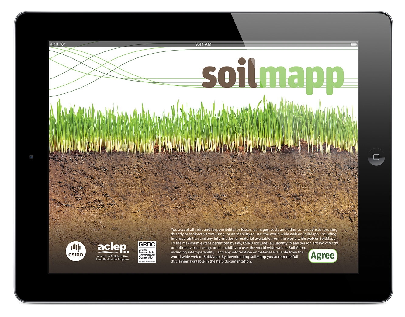 Screen shot of the SoilMapp app on an iPad.