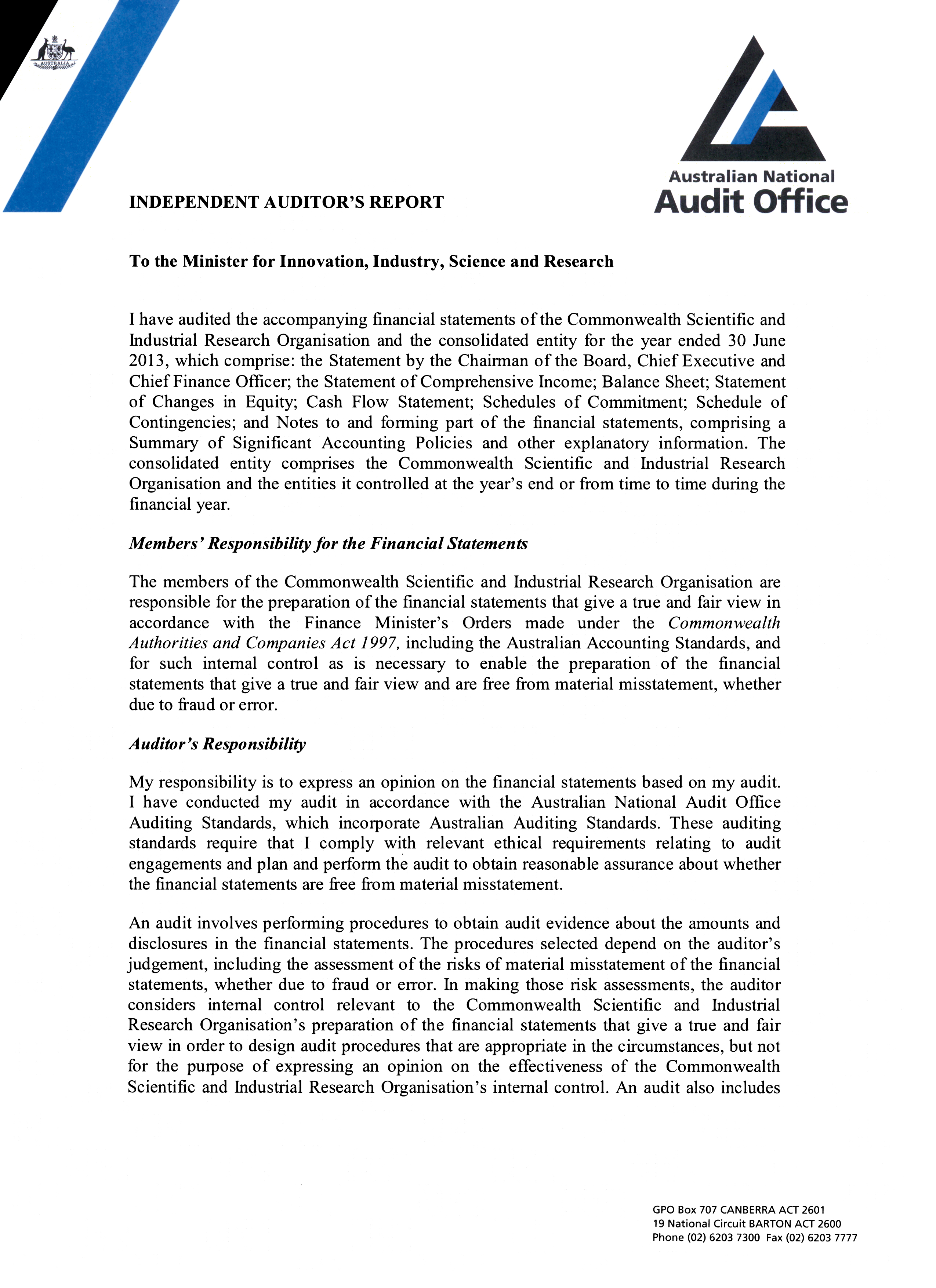 Screen capture of Independent Auditor's report for CSIRO 2012-13 financial statements page 1