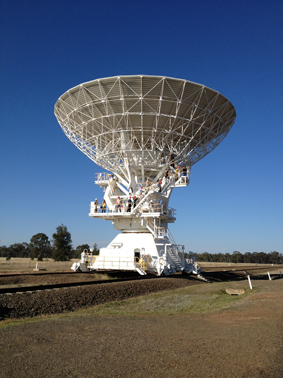 One of the telescopes at the Australia Telescope Compact Array