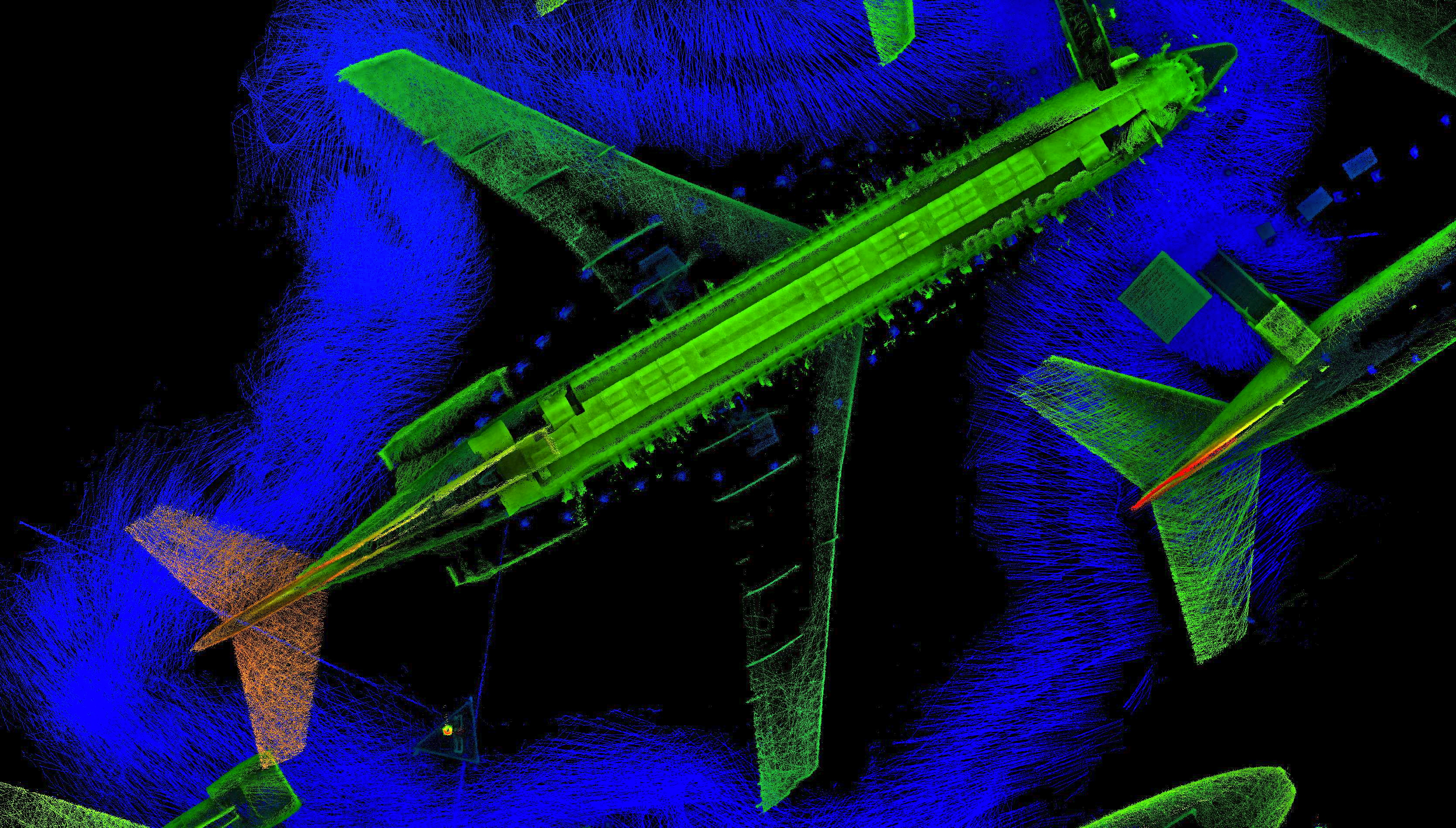 3D laser map of aeroplanes by our handheld 3D laser mapping system, Zebedee.