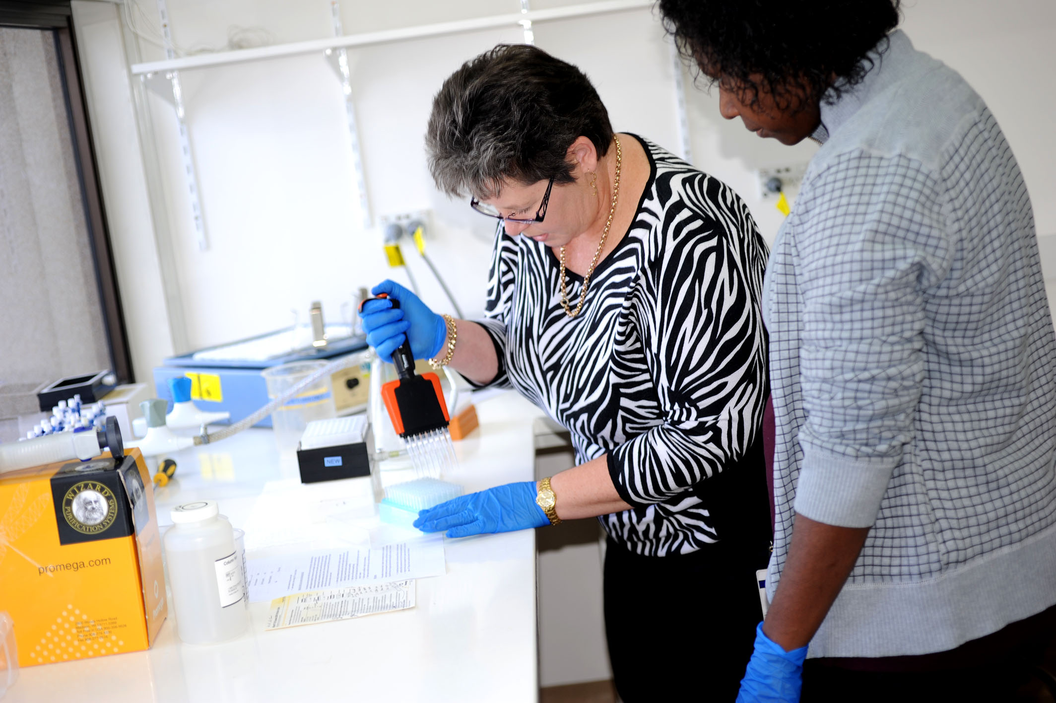 Sharon Appleyard at a lab bench holding a multi-pipette demonstrating the processes of DNA extractions in fish.