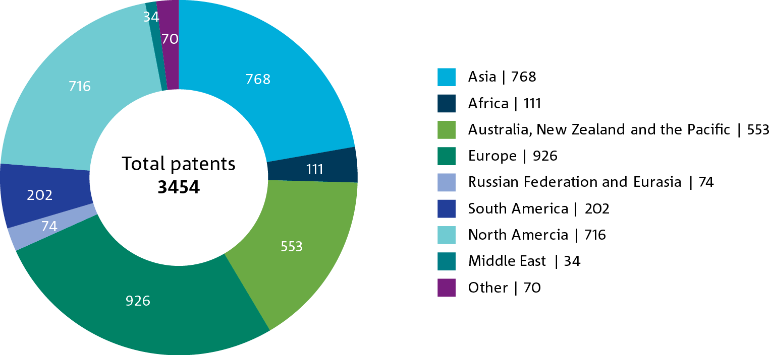 Pie chart of the number of live patent cases by geographic location.