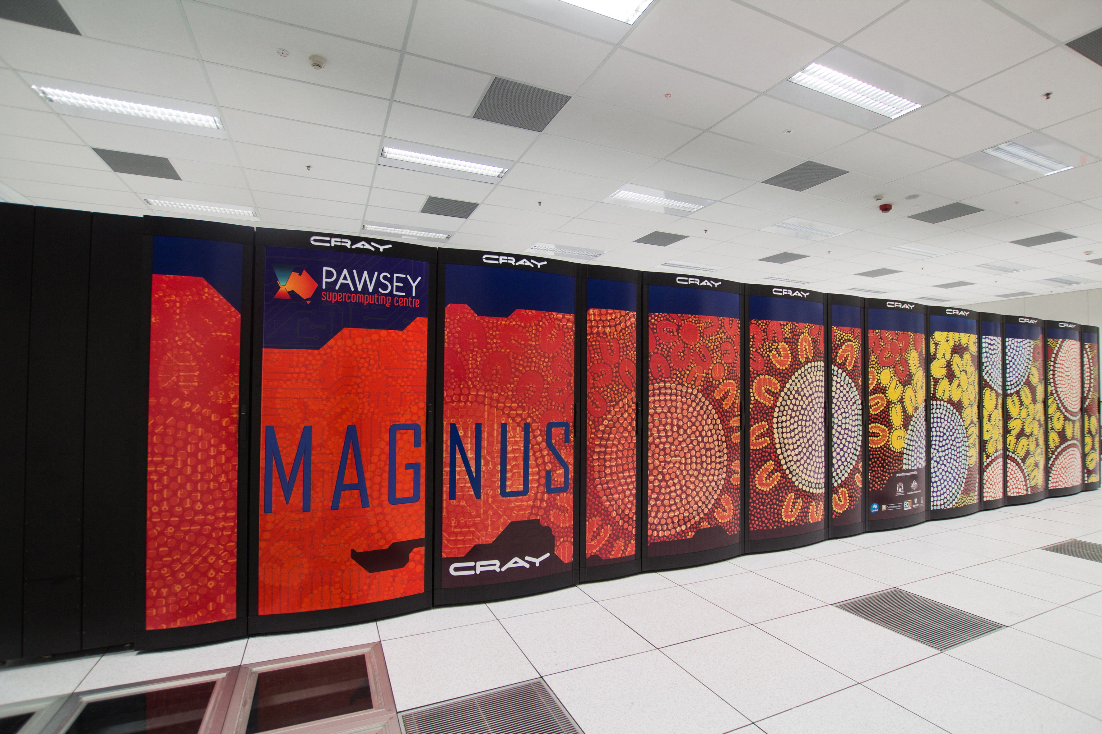 Inside view of part of the Pawsey Supercomputing Centre.