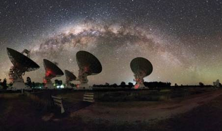 Night time photograph of the Compact Array telescopes under the Milky Way.
