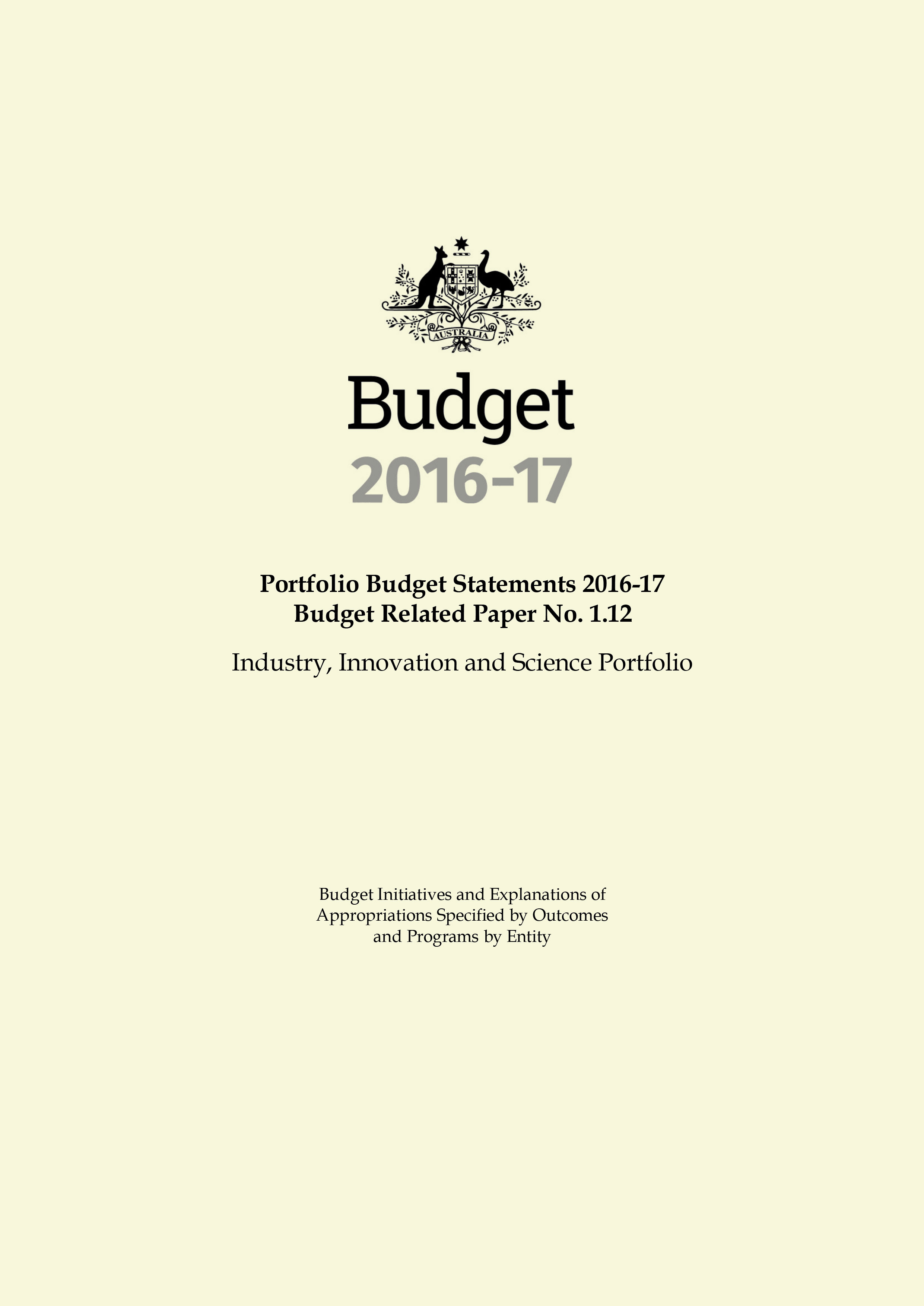 Cover of the Budget related paper No. 12 from Industry, Innovation and Science Portfolio.