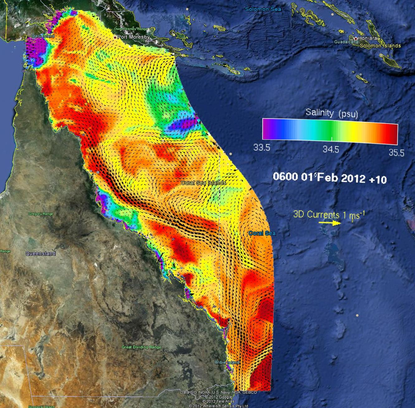 Outputs of eReefs displayed as a snapshot of key variables. This image shows salinity and ocean currents across the Great Barrier Reef.